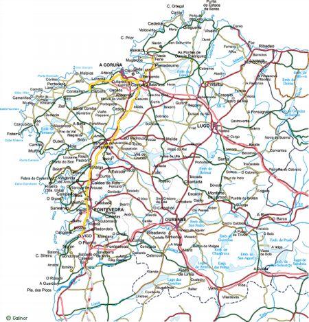 Mapa De Carreteras Galicia.Camino A Santiago Transporte