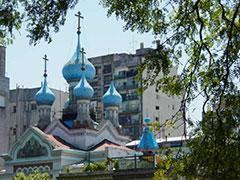 La iglesia ortodoxa rusa, al lado del parque Lezama