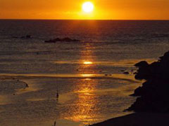 Puesta de sol en la playa (aquí se rodó El lapiz del Carpintero)