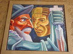 Cuadro con los rostros de Atahualpa y Pizarro