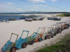 Los carros de transporte en Ilha do Mel