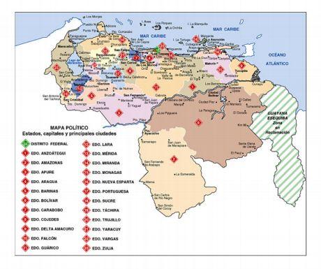 Mapa político de Venezuela