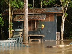 Inundación en el campamento.