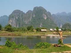El paisaje en Vang Vieng