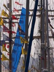 Un mar de banderas en el puerto de La Coruña