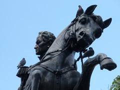 Estatua en la plaza Bolivar