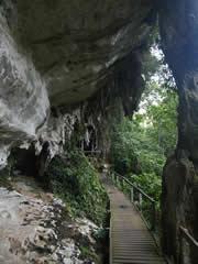 El acceso a la gran Cueva de Niah