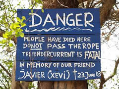 Cartel anunciando el peligro