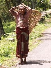 Anciana llevando un cesto