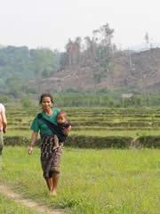 Mujer en los arrozales