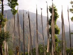Banderas camino del monasterio de Tashiding