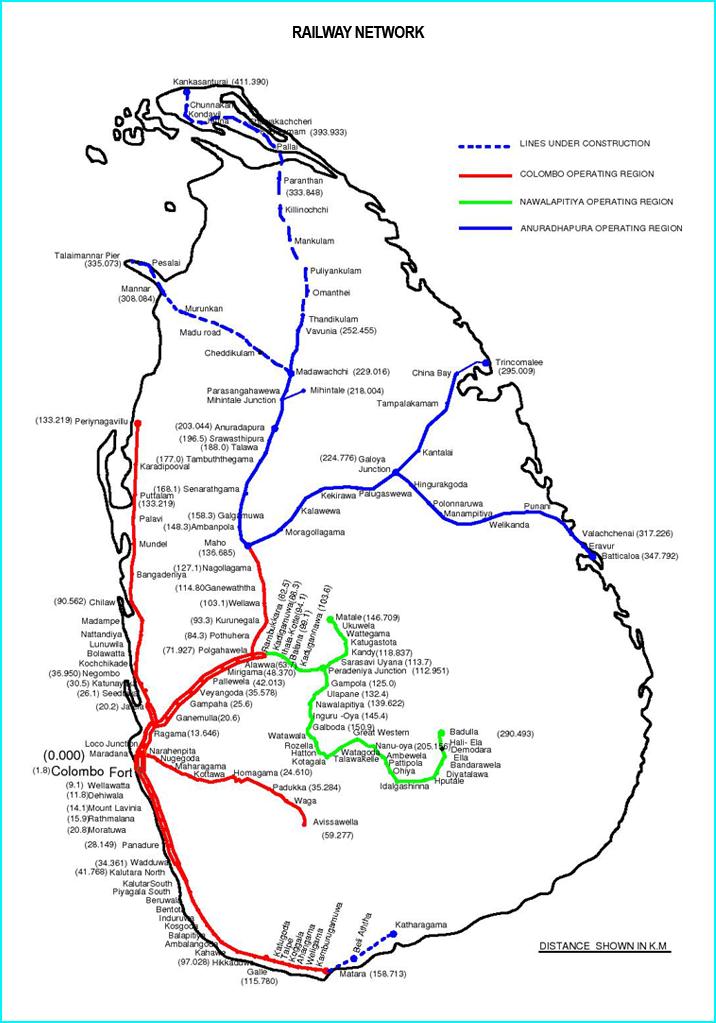 Mapa de Sri Lanka con las líneas de tren, en roja la que sufrió el accidente más grave